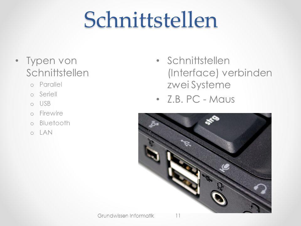 Schnittstellen Schnittstellen (Interface) verbinden zwei Systeme Z.B.