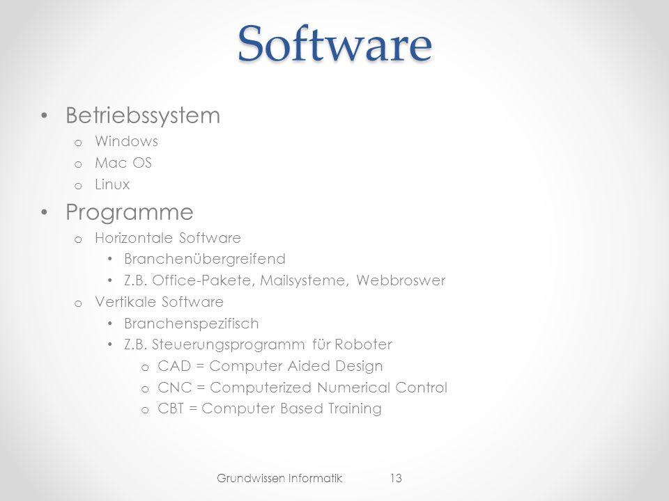 Software Betriebssystem o Windows o Mac OS o Linux Programme o Horizontale Software Branchenübergreifend Z.B.