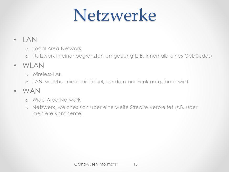 Netzwerke LAN o Local Area Network o Netzwerk in einer begrenzten Umgebung (z.B.