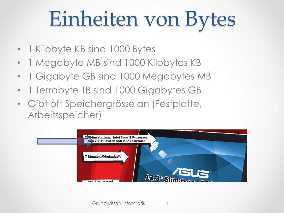Einheiten von Bytes 1 Kilobyte KB sind 1000 Bytes 1 Megabyte MB sind 1000 Kilobytes KB 1 Gigabyte GB sind 1000 Megabytes MB 1 Terrabyte TB sind 1000 Gigabytes GB Gibt oft Speichergrösse an (Festplatte, Arbeitsspeicher) Grundwissen Informatik4