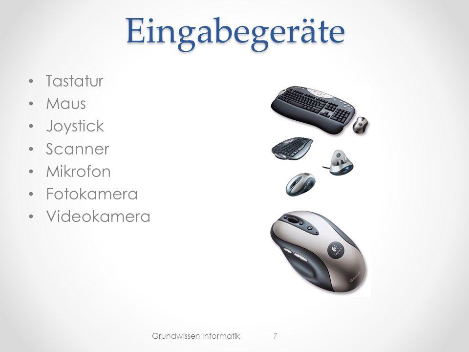 Eingabegeräte Tastatur Maus Joystick Scanner Mikrofon Fotokamera Videokamera Grundwissen Informatik7