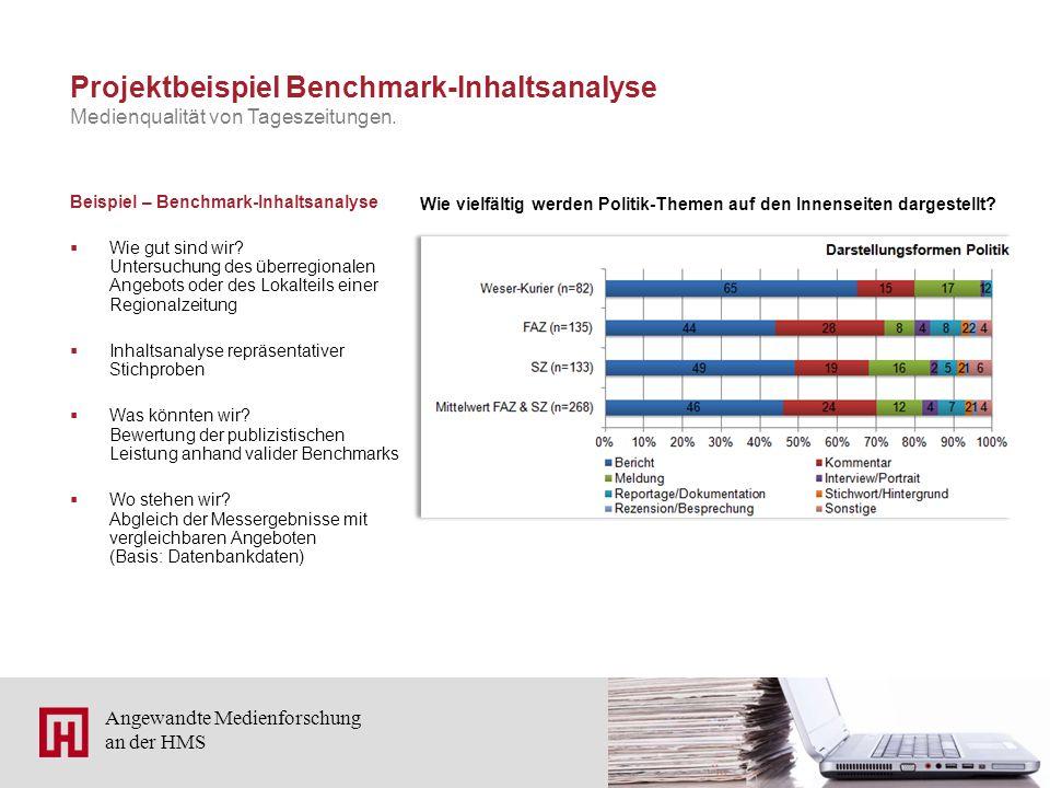 10 Angewandte Medienforschung an der HMS Projektbeispiel Benchmark-Inhaltsanalyse Beispiel – Benchmark-Inhaltsanalyse  Wie gut sind wir? Untersuchung