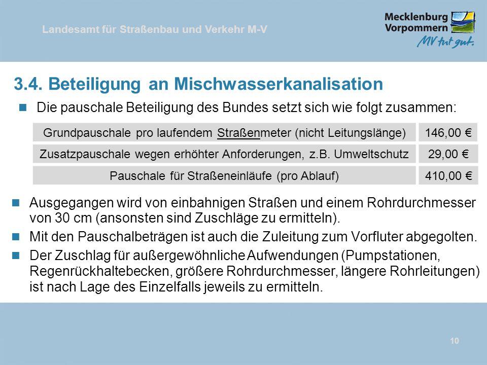 Landesamt für Straßenbau und Verkehr M-V 3.4. Beteiligung an Mischwasserkanalisation n Die pauschale Beteiligung des Bundes setzt sich wie folgt zusam