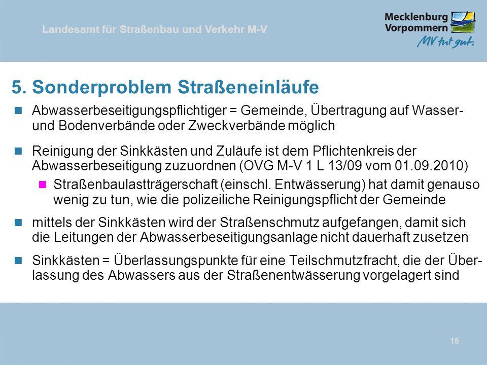 Landesamt für Straßenbau und Verkehr M-V 15 5. Sonderproblem Straßeneinläufe n Abwasserbeseitigungspflichtiger = Gemeinde, Übertragung auf Wasser- und