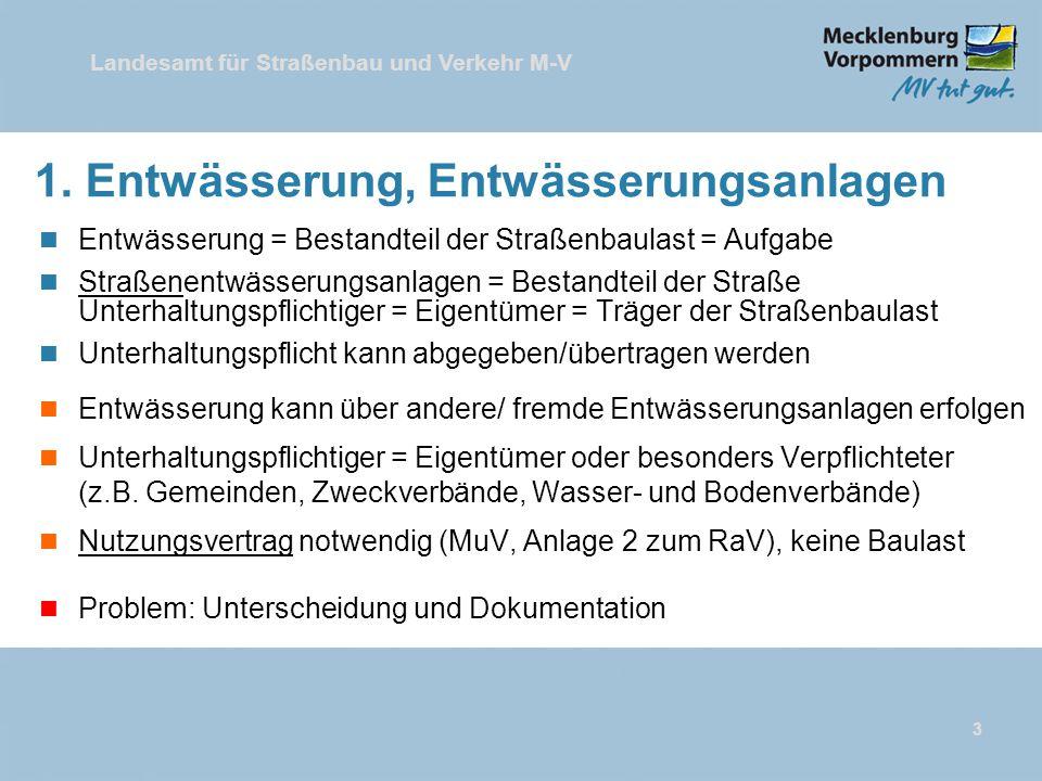 Landesamt für Straßenbau und Verkehr M-V 3 1. Entwässerung, Entwässerungsanlagen n Entwässerung = Bestandteil der Straßenbaulast = Aufgabe n Straßenen