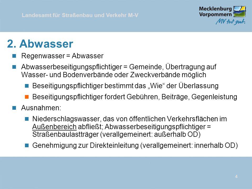 Landesamt für Straßenbau und Verkehr M-V 4 2. Abwasser n Regenwasser = Abwasser n Abwasserbeseitigungspflichtiger = Gemeinde, Übertragung auf Wasser-