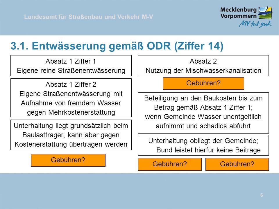 Landesamt für Straßenbau und Verkehr M-V 3.1. Entwässerung gemäß ODR (Ziffer 14) Absatz 1 Ziffer 1 Eigene reine Straßenentwässerung 6 Absatz 1 Ziffer