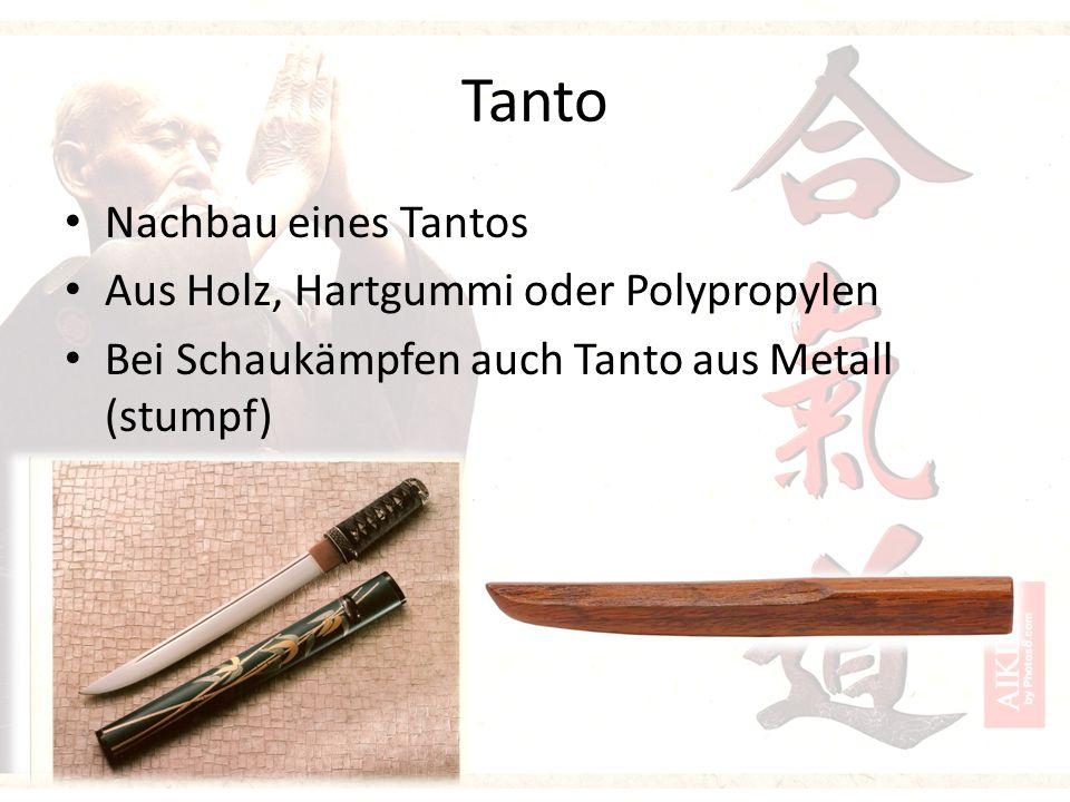 Tanto Nachbau eines Tantos Aus Holz, Hartgummi oder Polypropylen Bei Schaukämpfen auch Tanto aus Metall (stumpf)