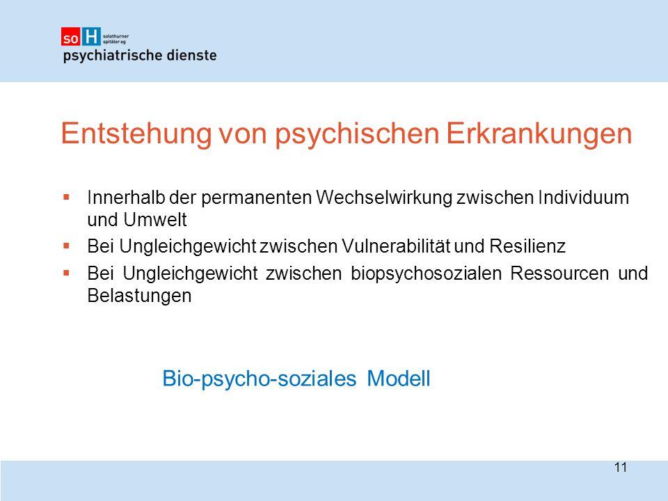 Entstehung von psychischen Erkrankungen  Innerhalb der permanenten Wechselwirkung zwischen Individuum und Umwelt  Bei Ungleichgewicht zwischen Vulne