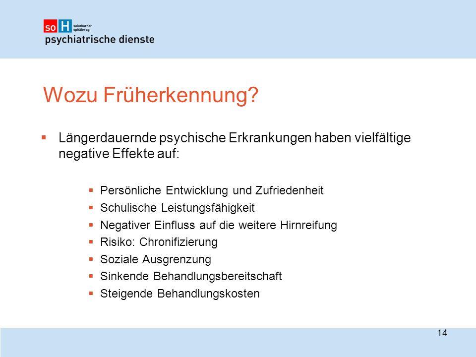 Wozu Früherkennung?  Längerdauernde psychische Erkrankungen haben vielfältige negative Effekte auf:  Persönliche Entwicklung und Zufriedenheit  Sch