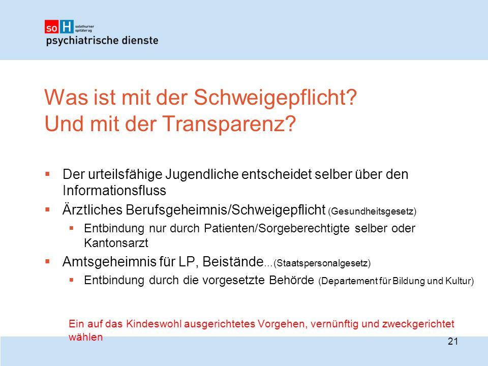 Was ist mit der Schweigepflicht? Und mit der Transparenz?  Der urteilsfähige Jugendliche entscheidet selber über den Informationsfluss  Ärztliches B