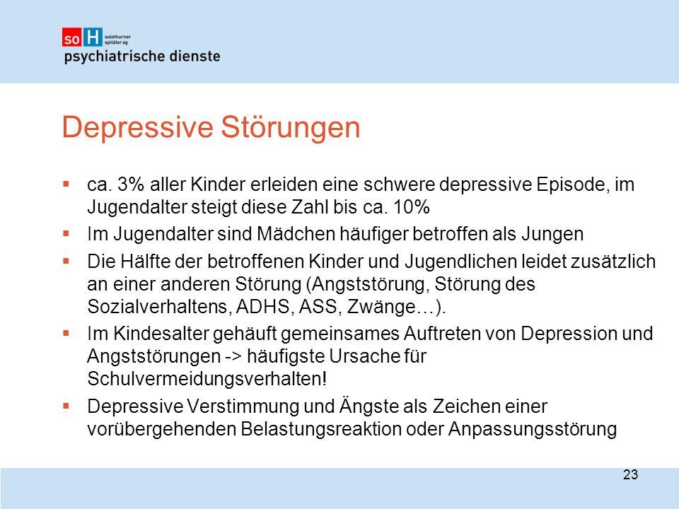 Depressive Störungen  ca. 3% aller Kinder erleiden eine schwere depressive Episode, im Jugendalter steigt diese Zahl bis ca. 10%  Im Jugendalter sin