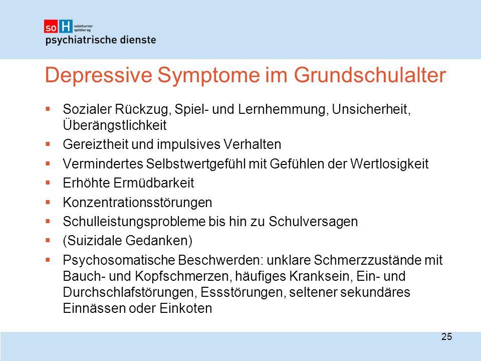Depressive Symptome im Grundschulalter  Sozialer Rückzug, Spiel- und Lernhemmung, Unsicherheit, Überängstlichkeit  Gereiztheit und impulsives Verhal