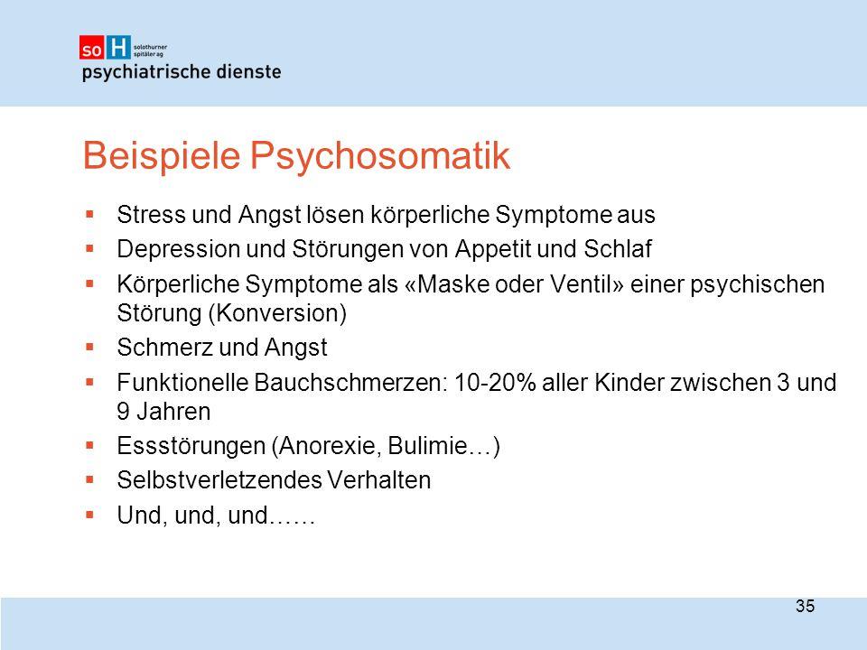 Beispiele Psychosomatik  Stress und Angst lösen körperliche Symptome aus  Depression und Störungen von Appetit und Schlaf  Körperliche Symptome als