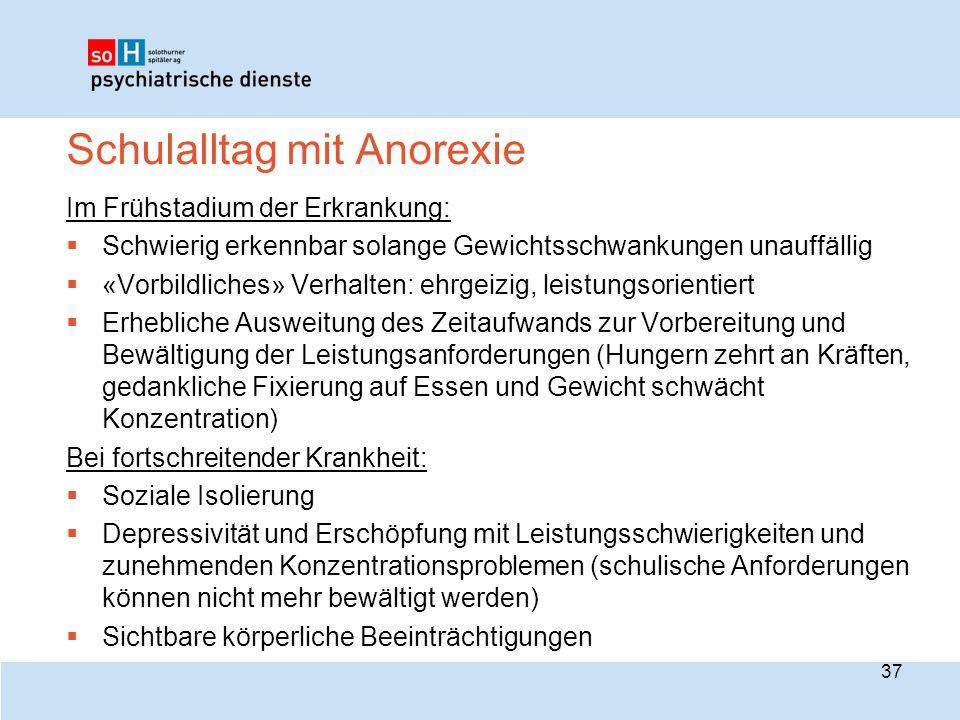 Schulalltag mit Anorexie Im Frühstadium der Erkrankung:  Schwierig erkennbar solange Gewichtsschwankungen unauffällig  «Vorbildliches» Verhalten: eh