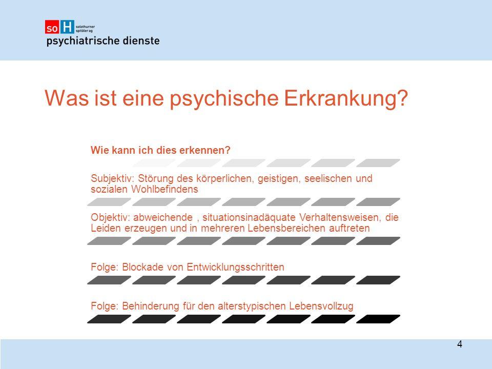 Was ist eine psychische Erkrankung? Wie kann ich dies erkennen? Subjektiv: Störung des körperlichen, geistigen, seelischen und sozialen Wohlbefindens