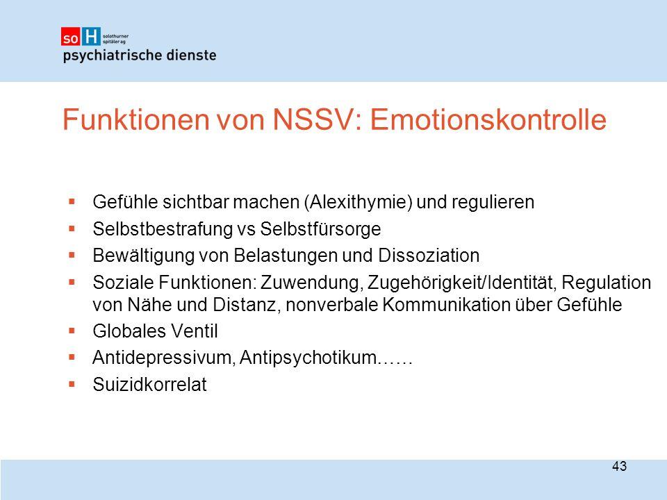 Funktionen von NSSV: Emotionskontrolle  Gefühle sichtbar machen (Alexithymie) und regulieren  Selbstbestrafung vs Selbstfürsorge  Bewältigung von B