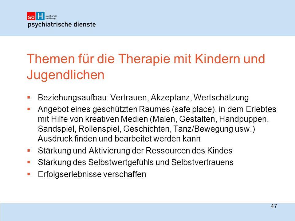 Themen für die Therapie mit Kindern und Jugendlichen  Beziehungsaufbau: Vertrauen, Akzeptanz, Wertschätzung  Angebot eines geschützten Raumes (safe