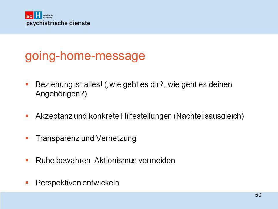 """going-home-message  Beziehung ist alles! (""""wie geht es dir?, wie geht es deinen Angehörigen?)  Akzeptanz und konkrete Hilfestellungen (Nachteilsausg"""