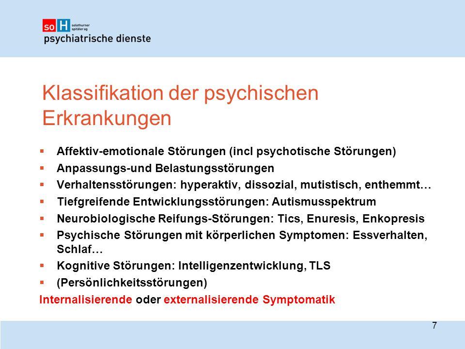 Klassifikation der psychischen Erkrankungen 7  Affektiv-emotionale Störungen (incl psychotische Störungen)  Anpassungs-und Belastungsstörungen  Ver