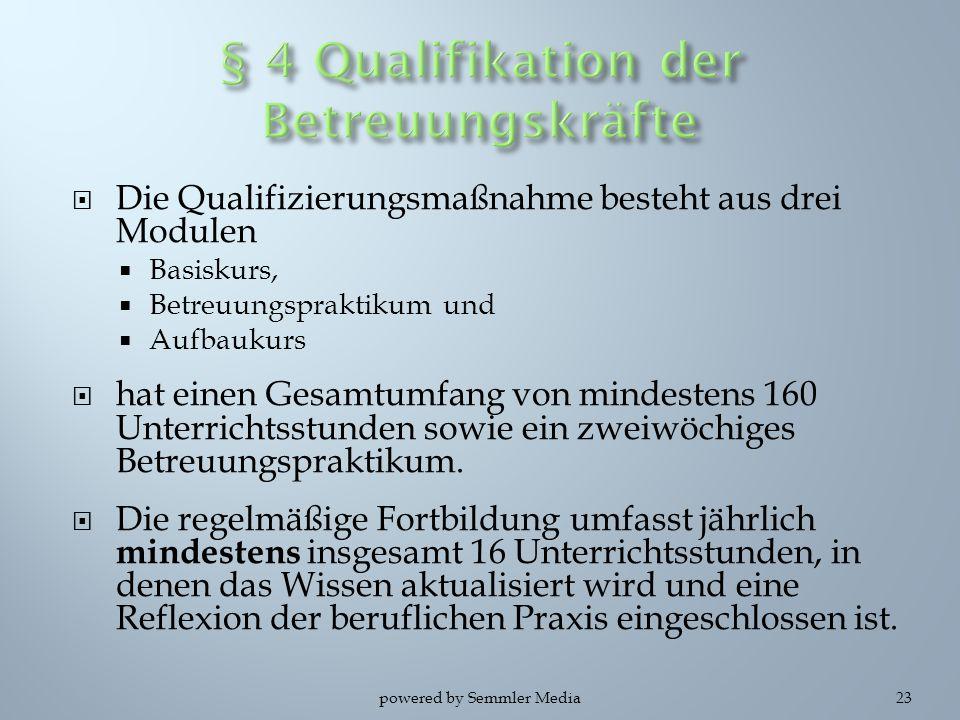  Die Qualifizierungsmaßnahme besteht aus drei Modulen  Basiskurs,  Betreuungspraktikum und  Aufbaukurs  hat einen Gesamtumfang von mindestens 160