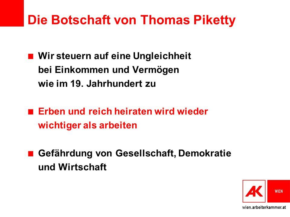 Die Botschaft von Thomas Piketty Wir steuern auf eine Ungleichheit bei Einkommen und Vermögen wie im 19. Jahrhundert zu Erben und reich heiraten wird