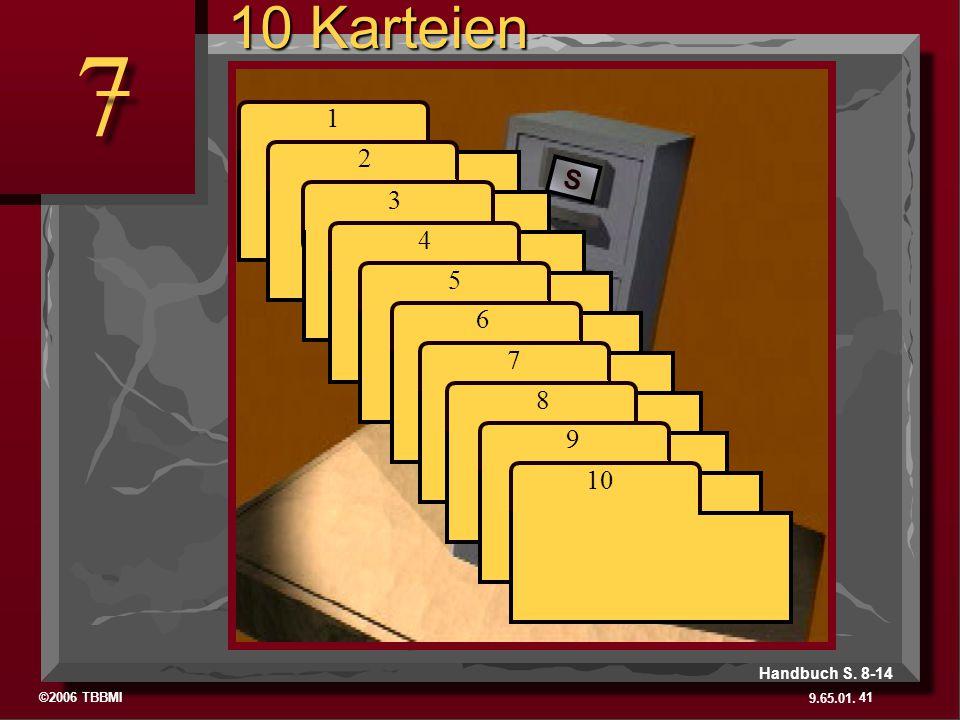 ©2006 TBBMI 9.65.01. S 7 S J 7 7 1 2 3 4 5 6 7 8 9 10 41 Handbuch S. 8-14 10 Karteien