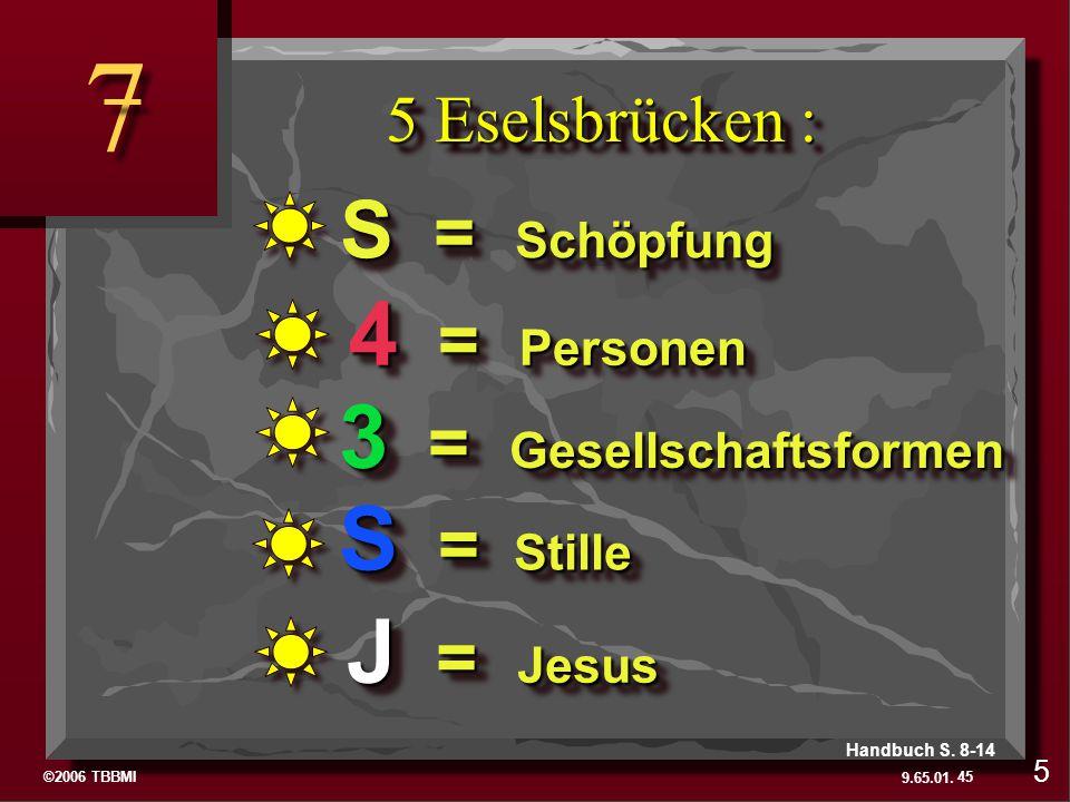 ©2006 TBBMI 9.65.01. 5 Eselsbrücken : 7 7 J = Jesus S = Stille 3 = Gesellschaftsformen 4 = Personen S = Schöpfung 5 45 Handbuch S. 8-14