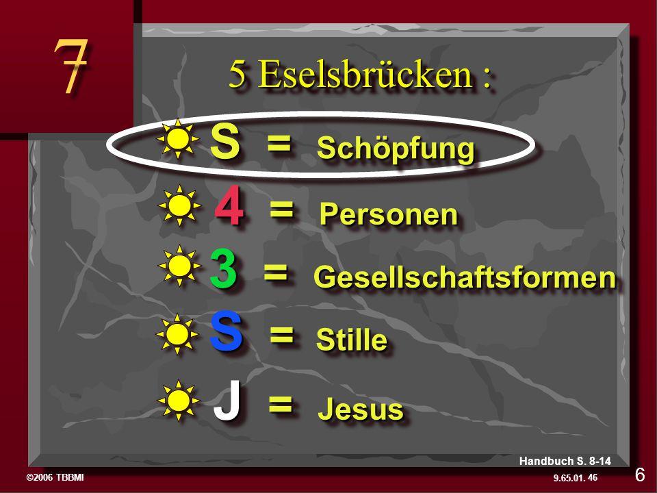 ©2006 TBBMI 9.65.01. 5 Eselsbrücken : 7 7 46 6 Handbuch S. 8-14 J = Jesus S = Stille 3 = Gesellschaftsformen 4 = Personen S = Schöpfung