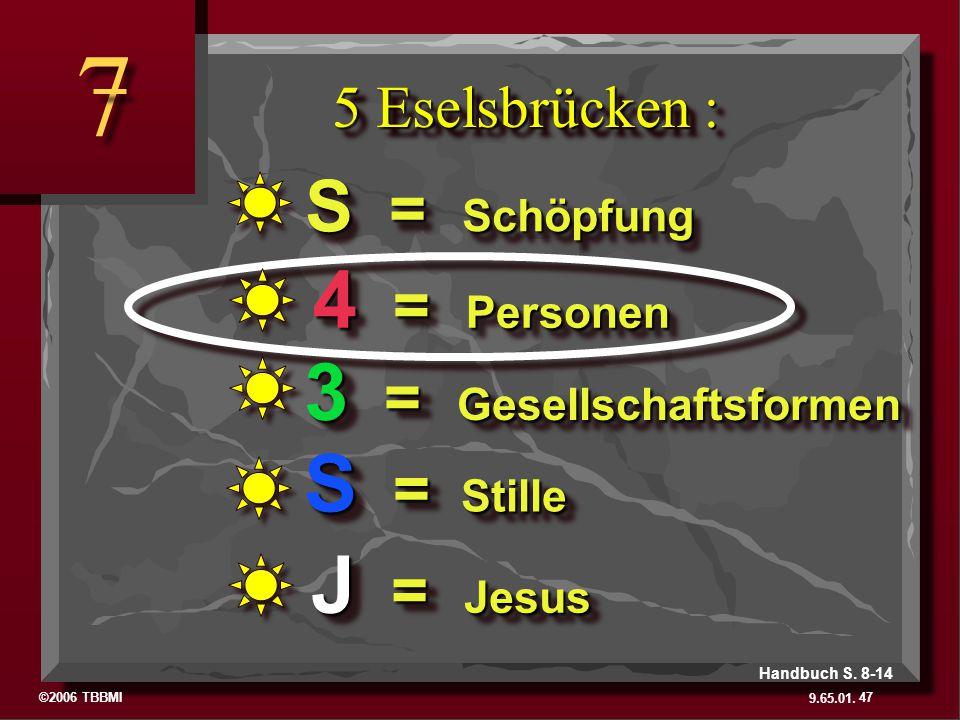 ©2006 TBBMI 9.65.01. 5 Eselsbrücken : 7 7 47 Handbuch S. 8-14 J = Jesus S = Stille 3 = Gesellschaftsformen 4 = Personen S = Schöpfung