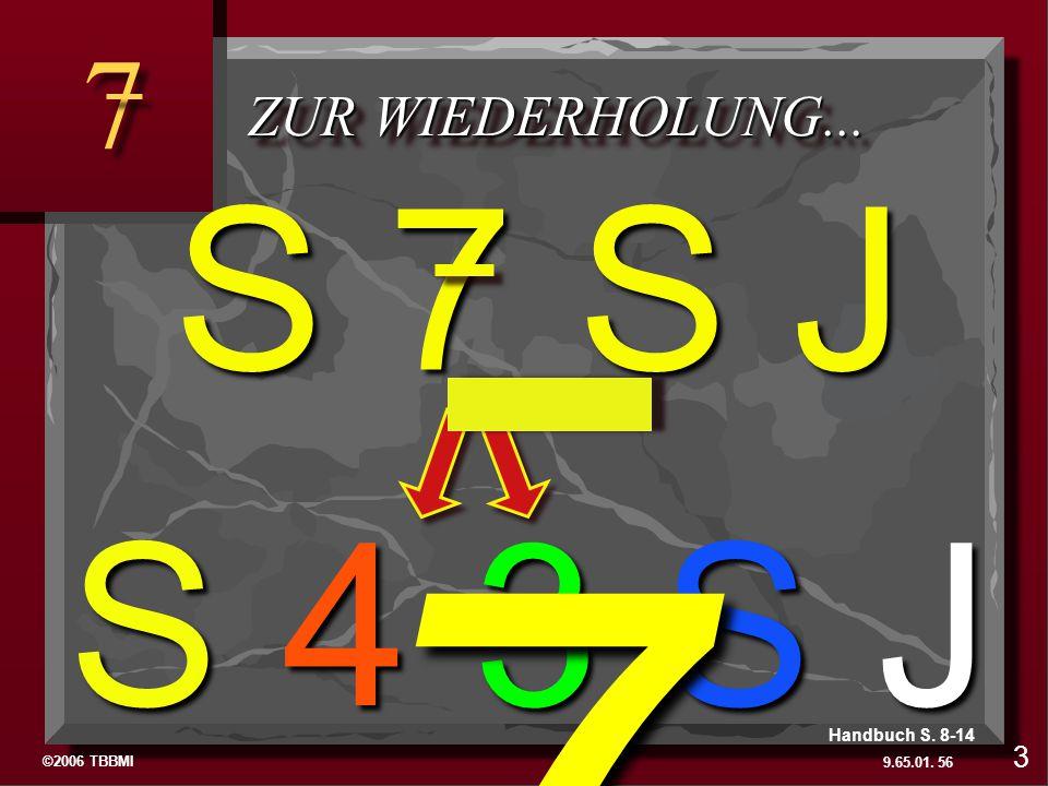 ©2006 TBBMI 9.65.01. 7 7 ZUR WIEDERHOLUNG... S 4 3 S J 56 3 Handbuch S. 8-14 S 7 S J 7 To Review…