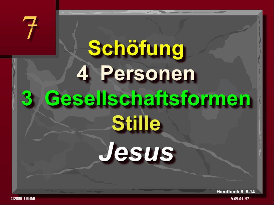 ©2006 TBBMI 9.65.01. 7 7 57 Handbuch S. 8-14 Schöfung 4 Personen 3 Gesellschaftsformen Stille Jesus The Basics