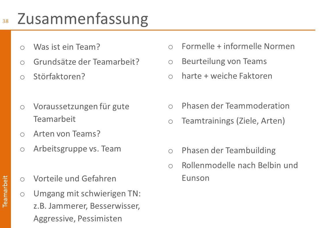 Teamarbeit Informelle Team-Regeln o alle sind für Atmosphäre + Ergebnis mitverantwortlich o Entscheidungen werden im Konsens getroffen o Aktiv zuhören - statt vielen Rückfragen o Moderations-, Kreativitäts- und Visualisierungstechniken werden eingesetzt.