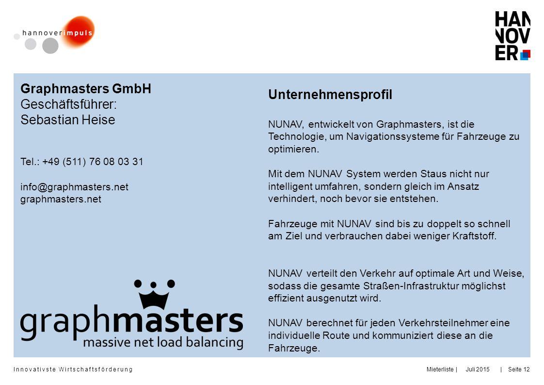 Innovativste Wirtschaftsförderung     Juli 2015MieterlisteSeite 12 Graphmasters GmbH Geschäftsführer: Sebastian Heise Tel.: +49 (511) 76 08 03 31 info