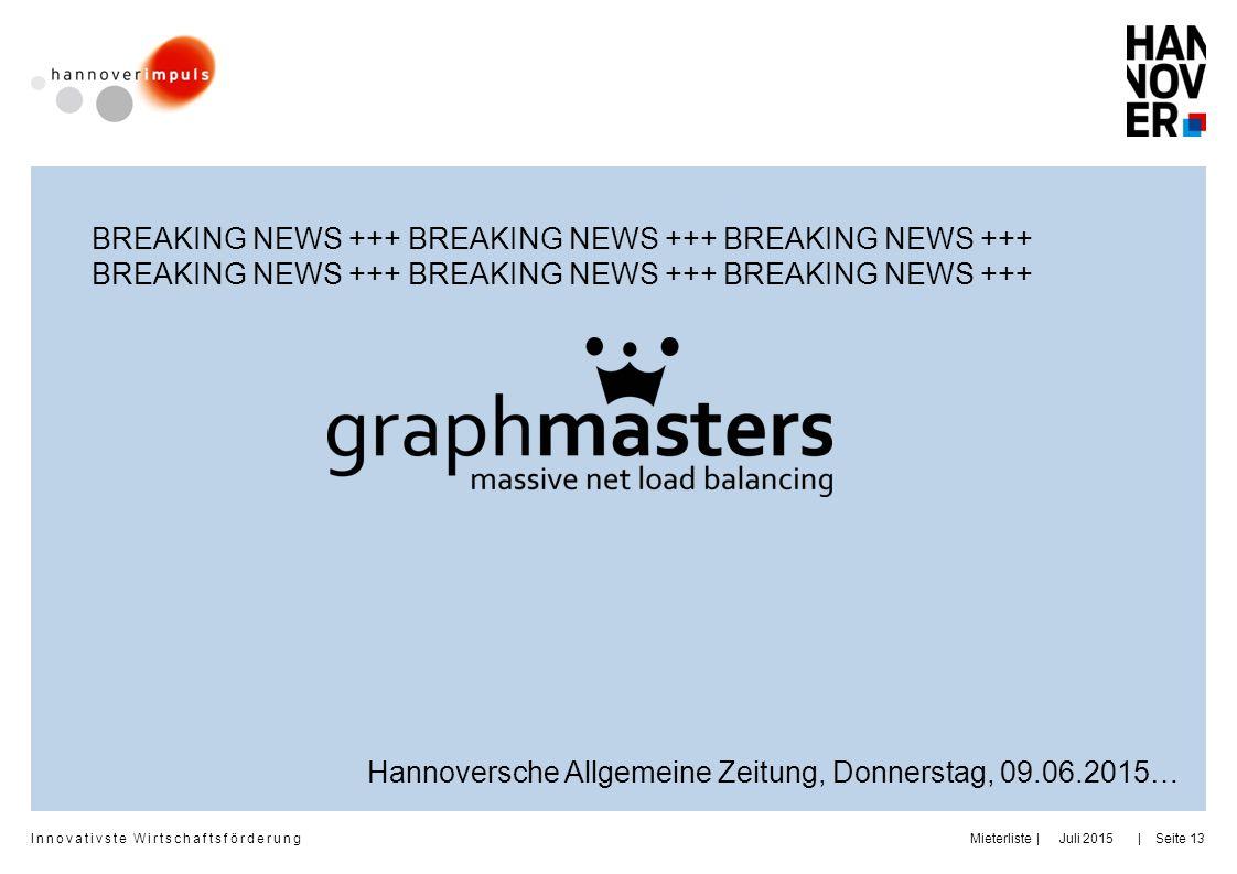 Innovativste Wirtschaftsförderung | | BREAKING NEWS +++ BREAKING NEWS +++ BREAKING NEWS +++ Juli 2015MieterlisteSeite 13 Hannoversche Allgemeine Zeitu