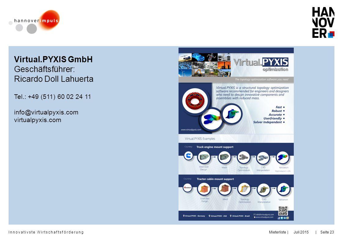 Innovativste Wirtschaftsförderung     Juli 2015MieterlisteSeite 23 Virtual.PYXIS GmbH Geschäftsführer: Ricardo Doll Lahuerta Tel.: +49 (511) 60 02 24