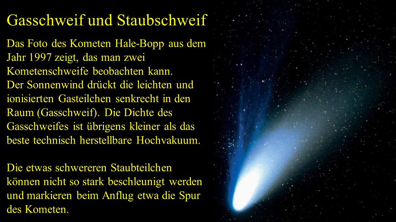 Gasschweif und Staubschweif Das Foto des Kometen Hale-Bopp aus dem Jahr 1997 zeigt, das man zwei Kometenschweife beobachten kann. Der Sonnenwind drück