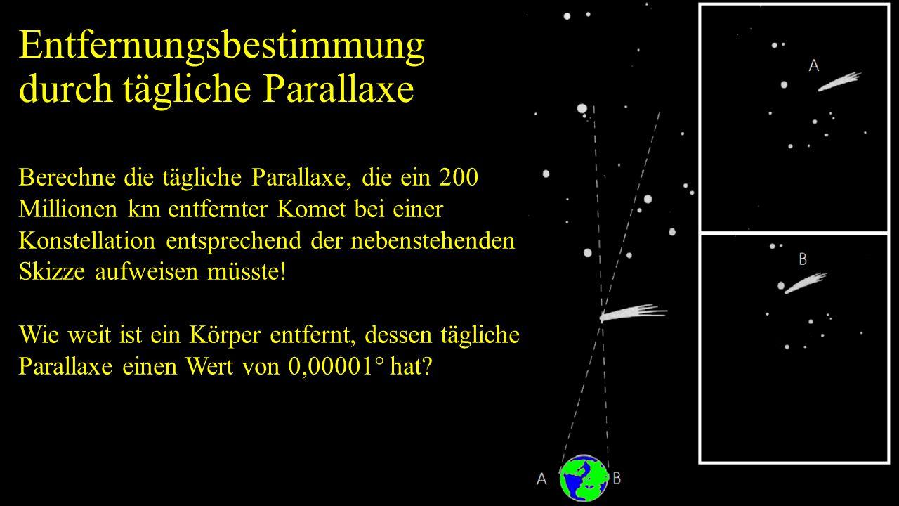Entfernungsbestimmung durch tägliche Parallaxe Berechne die tägliche Parallaxe, die ein 200 Millionen km entfernter Komet bei einer Konstellation ents