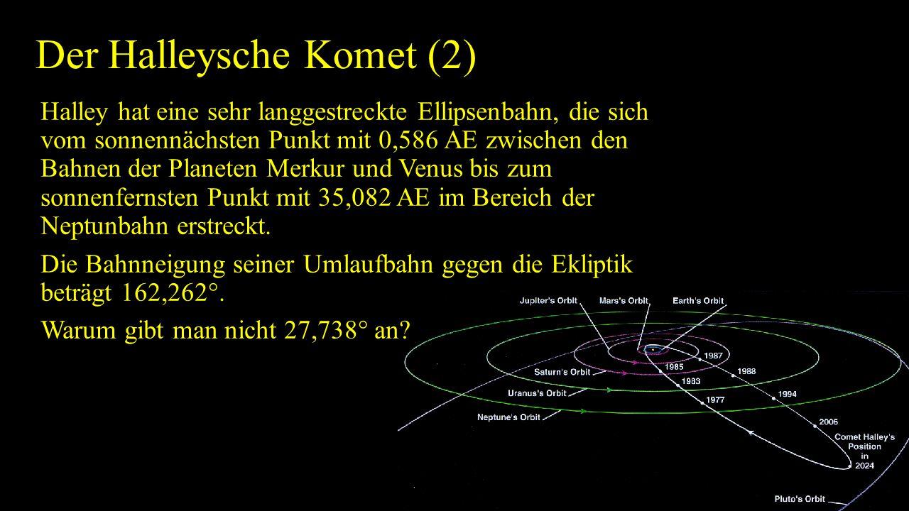 Der Halleysche Komet (2) Halley hat eine sehr langgestreckte Ellipsenbahn, die sich vom sonnennächsten Punkt mit 0,586 AE zwischen den Bahnen der Plan