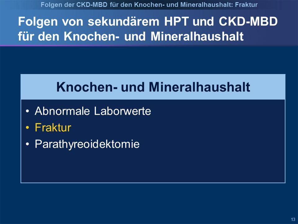 13 Folgen von sekundärem HPT und CKD-MBD für den Knochen- und Mineralhaushalt Knochen- und Mineralhaushalt Abnormale Laborwerte Fraktur Parathyreoidektomie Folgen der CKD-MBD für den Knochen- und Mineralhaushalt: Fraktur