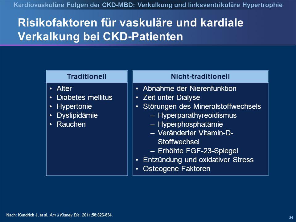 34 Risikofaktoren für vaskuläre und kardiale Verkalkung bei CKD-Patienten Traditionell Alter Diabetes mellitus Hypertonie Dyslipidämie Rauchen Nach: Kendrick J, et al.