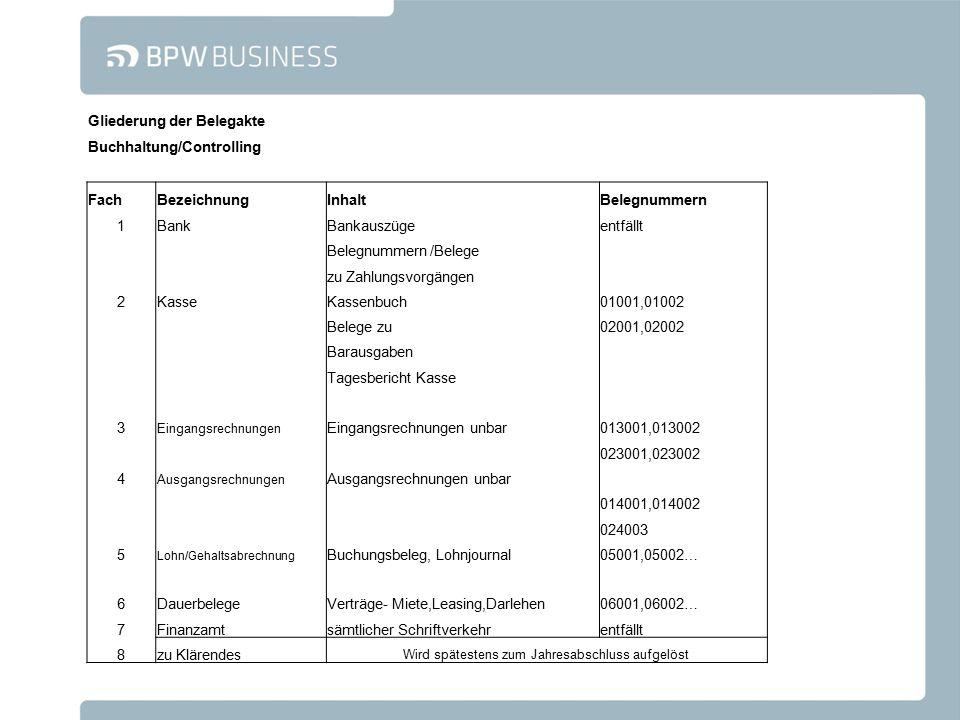 Gliederung der Belegakte Buchhaltung/Controlling FachBezeichnungInhaltBelegnummern 1BankBankauszügeentfällt Belegnummern /Belege zu Zahlungsvorgängen