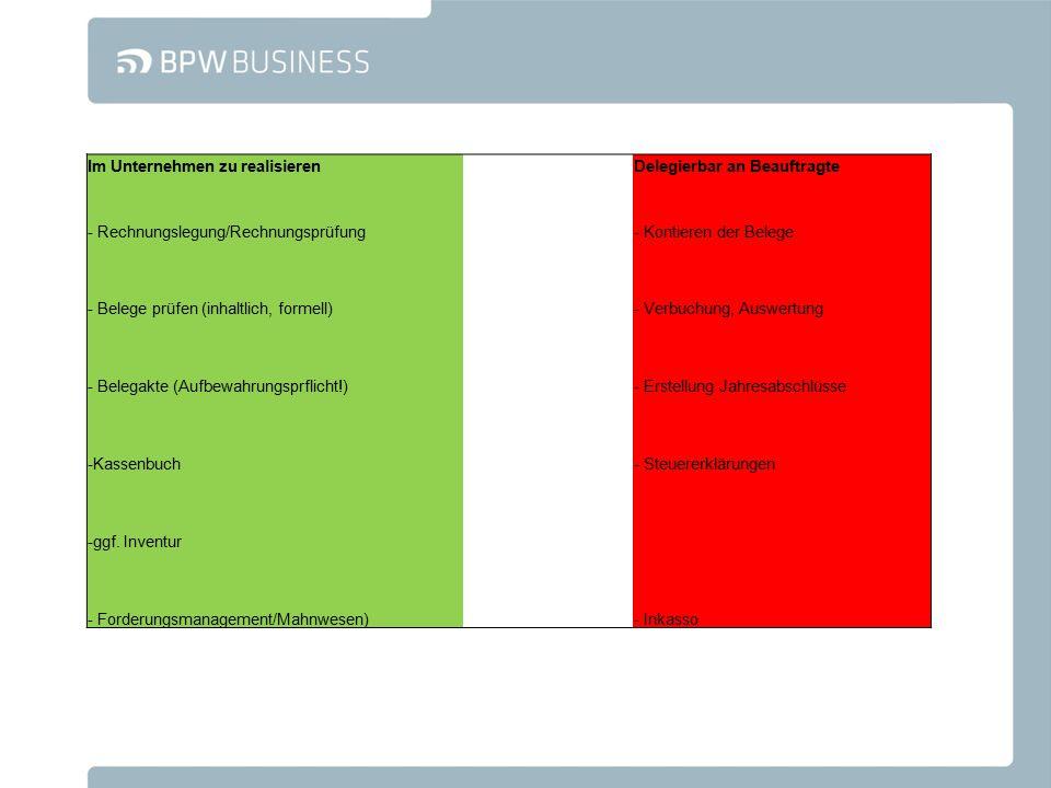 Im Unternehmen zu realisieren Delegierbar an Beauftragte - Rechnungslegung/Rechnungsprüfung- Kontieren der Belege - Belege prüfen (inhaltlich, formell