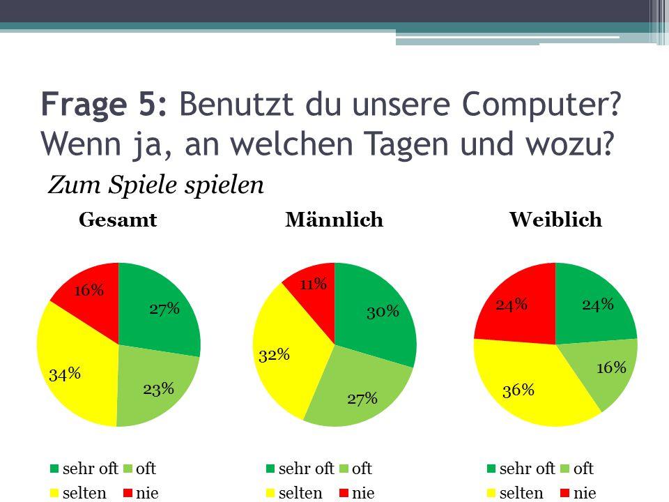 Frage 5: Benutzt du unsere Computer? Wenn ja, an welchen Tagen und wozu? Zum Spiele spielen