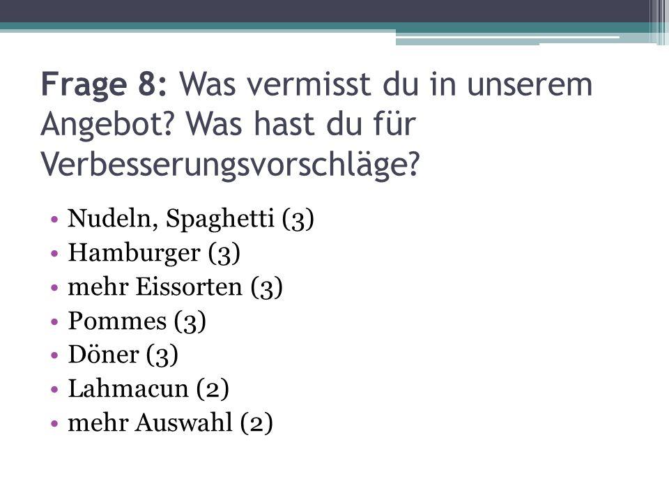 Frage 8: Was vermisst du in unserem Angebot? Was hast du für Verbesserungsvorschläge? Nudeln, Spaghetti (3) Hamburger (3) mehr Eissorten (3) Pommes (3