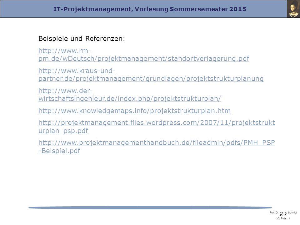 IT-Projektmanagement, Vorlesung Sommersemester 2015 Prof. Dr. Herrad Schmidt SS 15 V3, Folie 13 Beispiele und Referenzen: http://www.rm- pm.de/wDeutsc