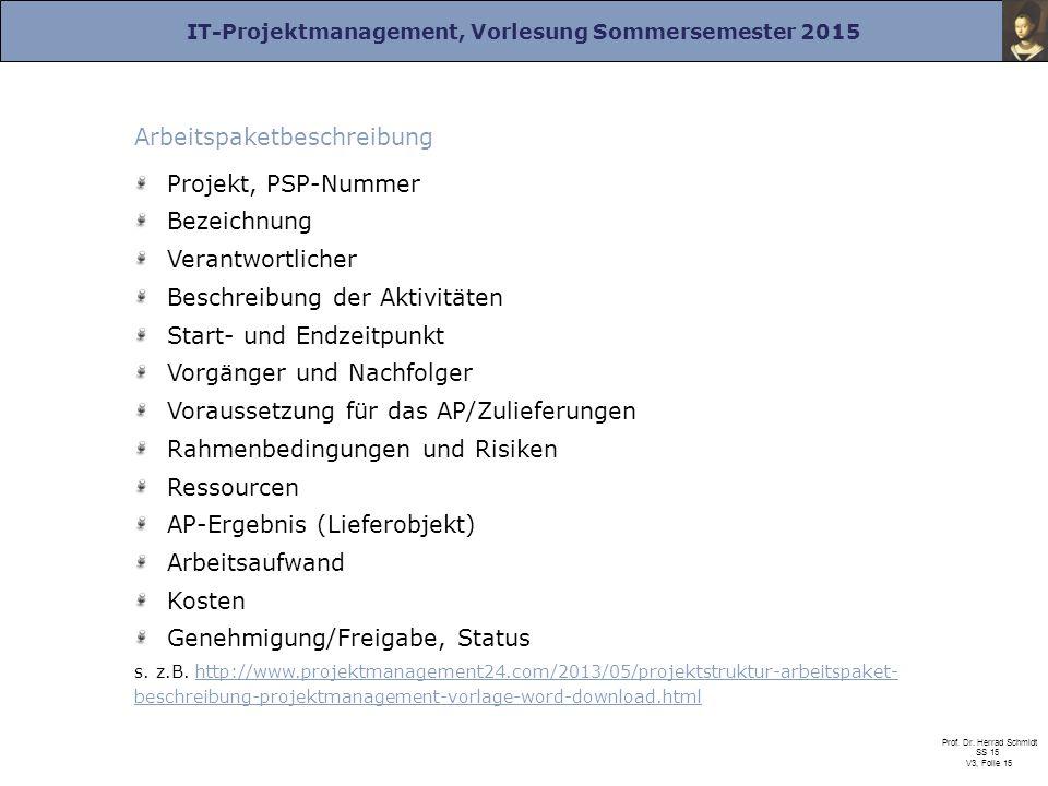 IT-Projektmanagement, Vorlesung Sommersemester 2015 Prof. Dr. Herrad Schmidt SS 15 V3, Folie 15 Arbeitspaketbeschreibung Projekt, PSP-Nummer Bezeichnu