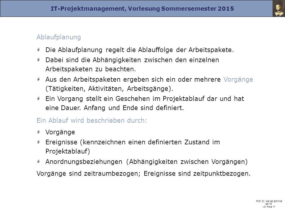IT-Projektmanagement, Vorlesung Sommersemester 2015 Prof. Dr. Herrad Schmidt SS 15 V3, Folie 17 Ablaufplanung Die Ablaufplanung regelt die Ablauffolge