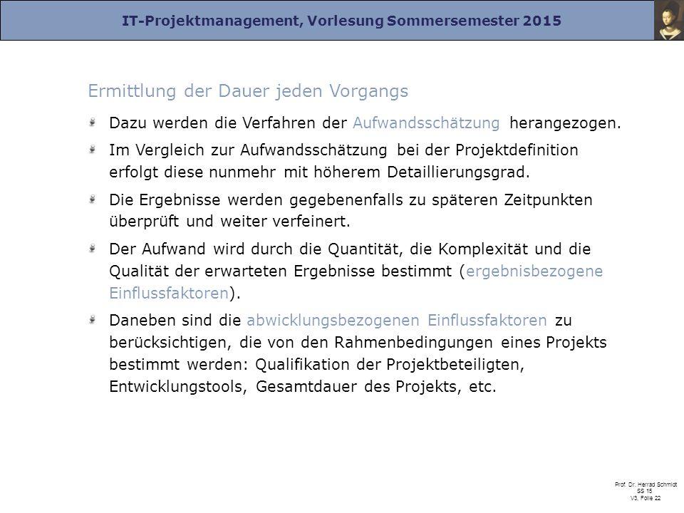 IT-Projektmanagement, Vorlesung Sommersemester 2015 Prof. Dr. Herrad Schmidt SS 15 V3, Folie 22 Ermittlung der Dauer jeden Vorgangs Dazu werden die Ve