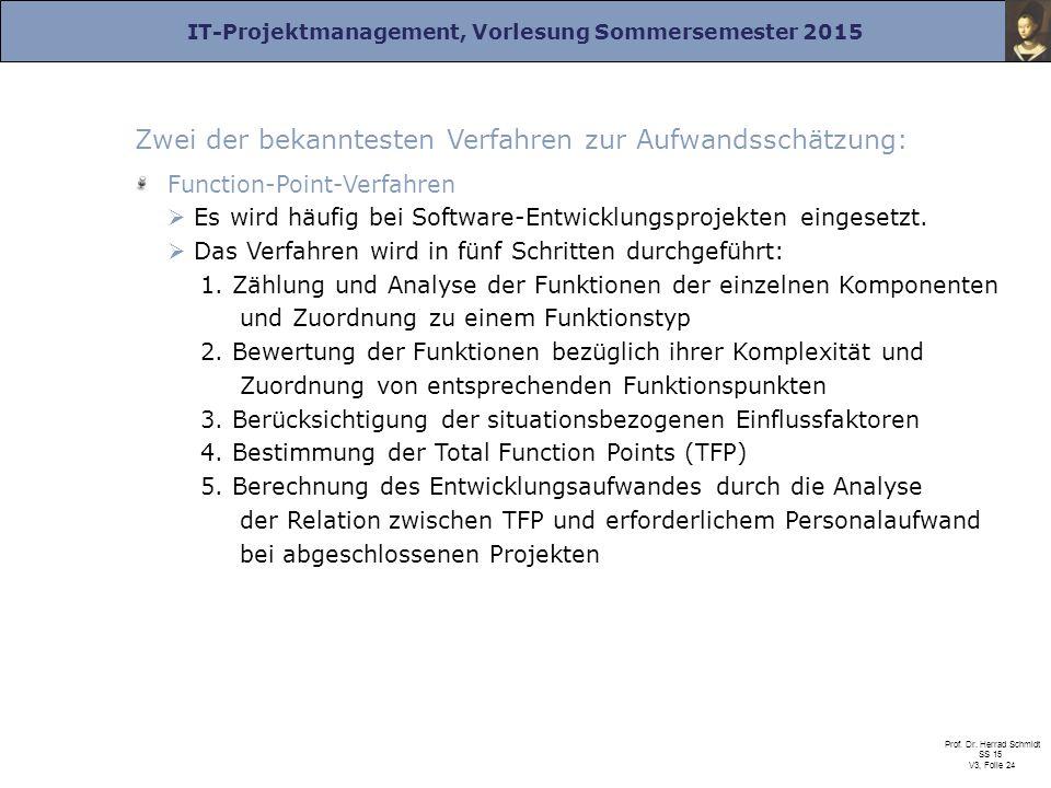 IT-Projektmanagement, Vorlesung Sommersemester 2015 Prof. Dr. Herrad Schmidt SS 15 V3, Folie 24 Zwei der bekanntesten Verfahren zur Aufwandsschätzung: